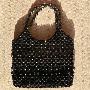 Vintage Black Velvet Beaded Bag